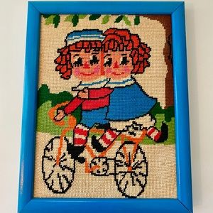 Vintage Raggedy Ann & Andy Cross Stitch EUC